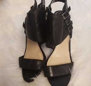 Vince camuto lyssia black buckle up open toe wedge